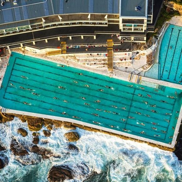 Piscina construída na beira do mar em Sydney - Austrália - Fotos aéreas