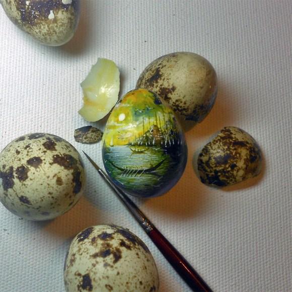 Pequenas paisagens pintadas em alimentos 6
