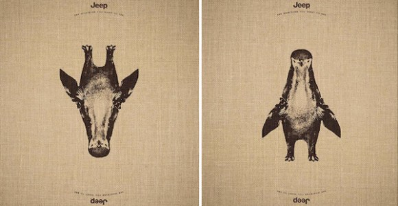Dois animais diferentes podem ser vistos na mesma ilustração nessa campanha