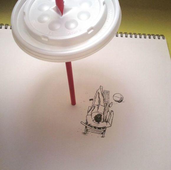 Ilustrações com objetos do cotidiano 6