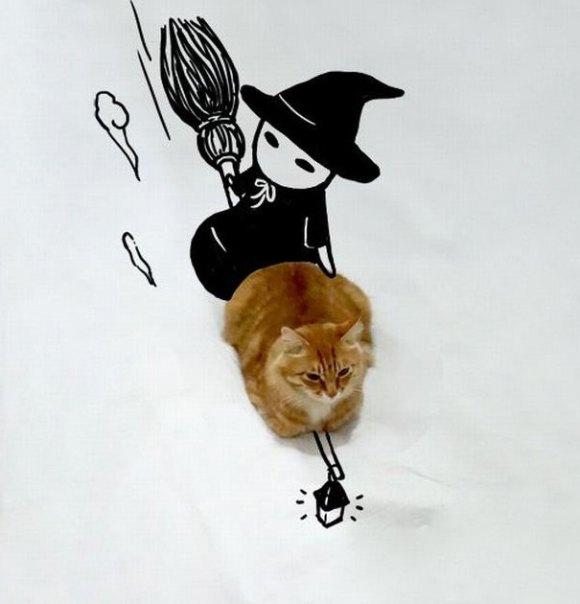 Desenhos sobre a foto de um gato 3 - Sofia