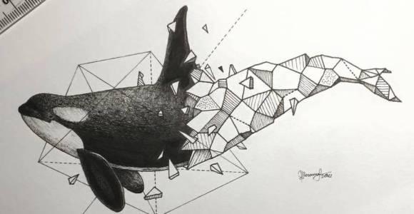 A mistura de realismo com geometria marca o trabalho desse ilustrador