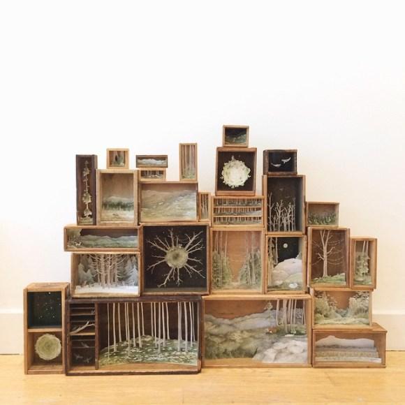 Arte - mundos em caixas de madeira 12