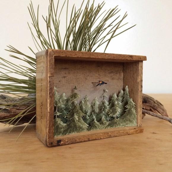 Arte - mundos em caixas de madeira 13
