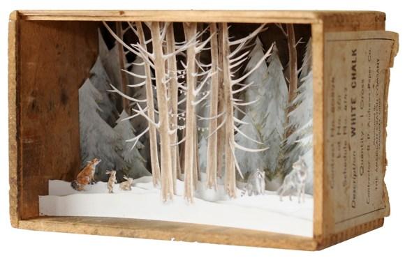 Arte - mundos em caixas de madeira 4