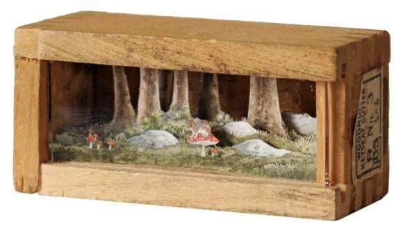 Arte - mundos em caixas de madeira 6