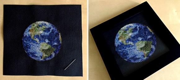 Bordado de planetas - Terra