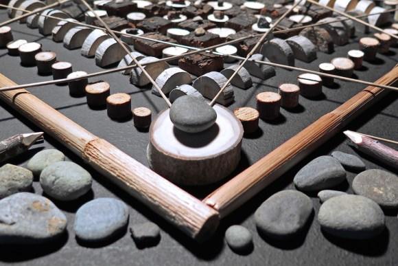Mandalas de madeira e pedras 5