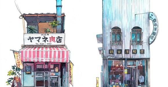 Artista captura a essência da Tóquio antiga com lindas aquarelas