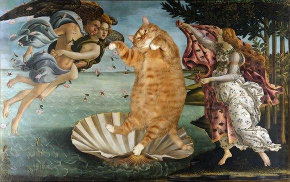 """Gato no lugar da Vênus de Milo no quadro """"O Nascimento de Vênus"""" de Botticelli"""