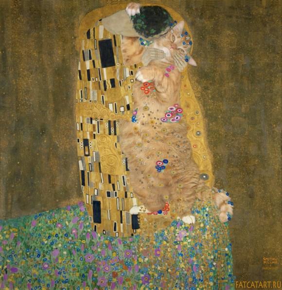 O Beijo de Klimt com o gato no lugar da mulher