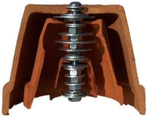 Sequencia de porcas e anilhas no parafuso dentro dos três vasos