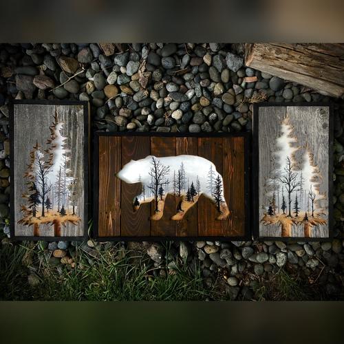 Três quadros: pinheiros vazados com floresta nas duas pontas e outro com urso vazado com floresta no meio