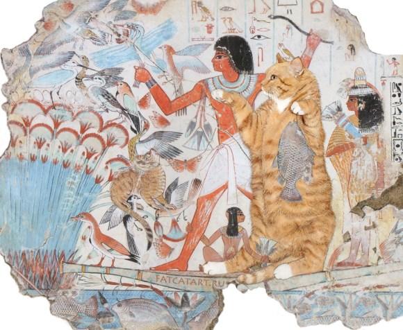 Gato com pintura egípcia