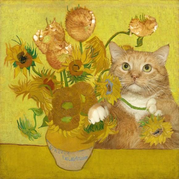 Gato interagindo com os Girassóis de Van Gogh