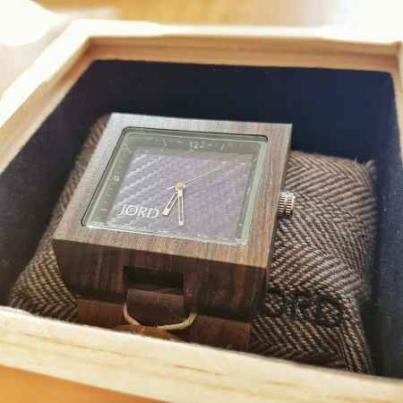 JORD Men's Wooden Watch Delmar dark sandalwood and blue carbon