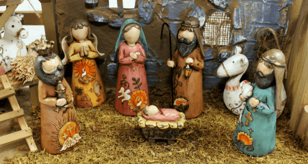 Nativity with wooden characters stock image