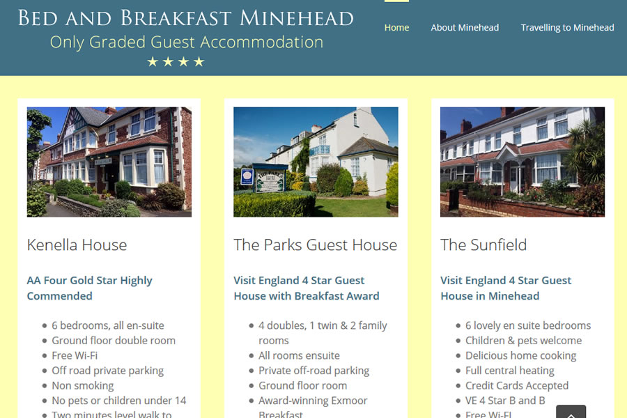 Bed and breakfast website designers in Somerset