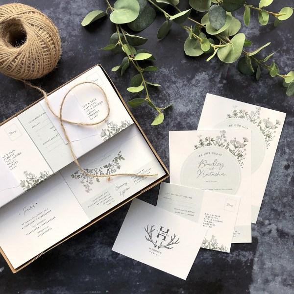 Country wedding stationery flatlay