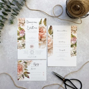 Pink Floral Wedding Stationery Set Flatlay