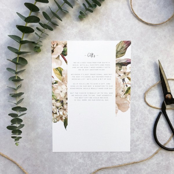 Wedding Gift Card Flatlay