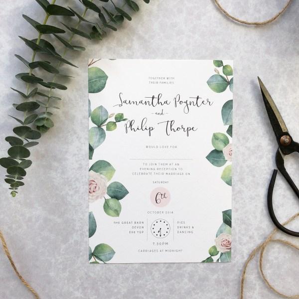 Floral Evening Invitation Flatlay