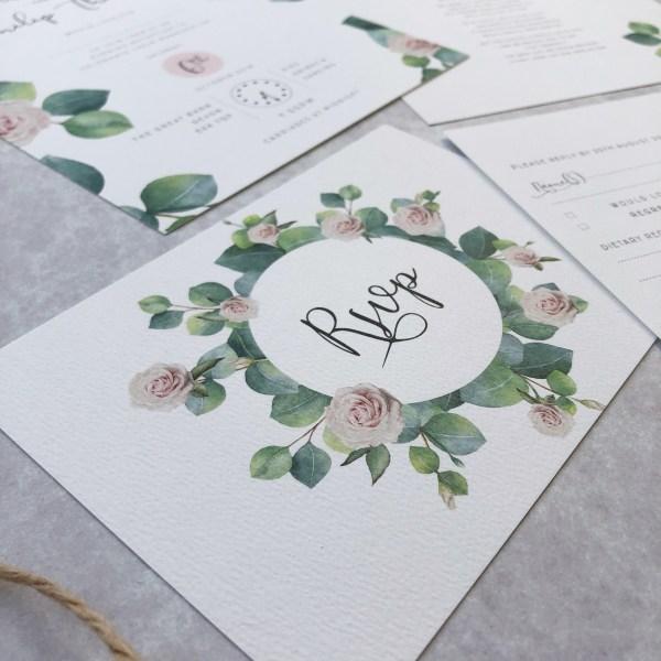 Close up of wedding RSVP
