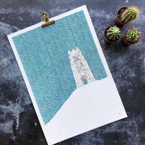 GRAPHIC PRINT OF GLASTONBURY TOR SOMERSET