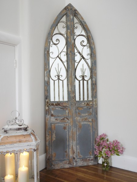 Gothic Arched Mirror Metal Decoration  Wooden Panels