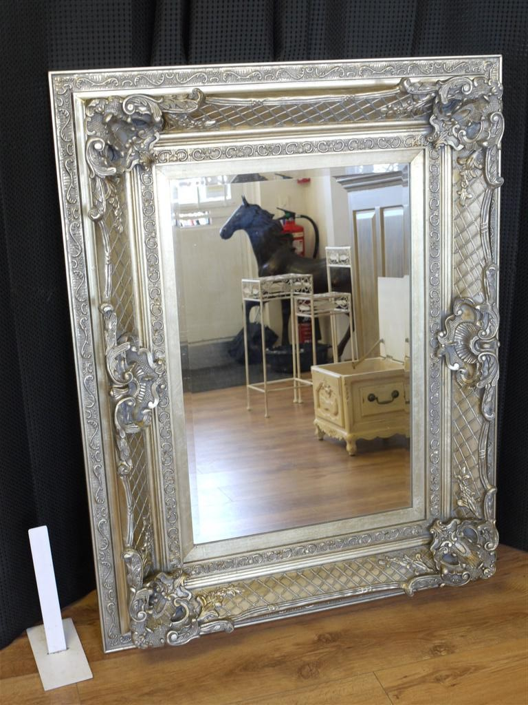 36x46 Large Antique Silver Framed Mirror Rectangular
