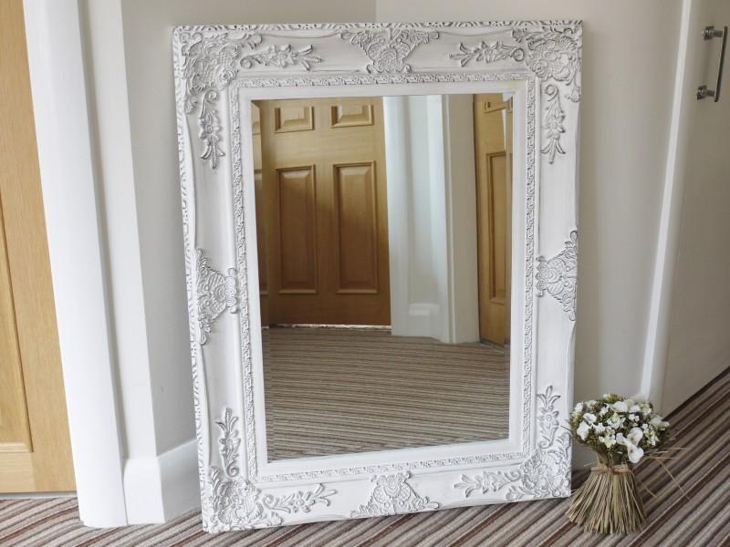 29 x37 shabby chic white bevelled mirror