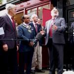 Frank Dobson MP speaking at Kenneth Williams Plaque unveiling Marchmont Street