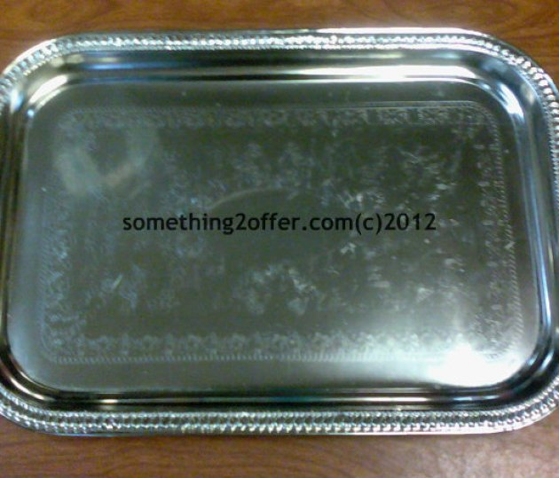 shiny silver tray from Dollar Tree