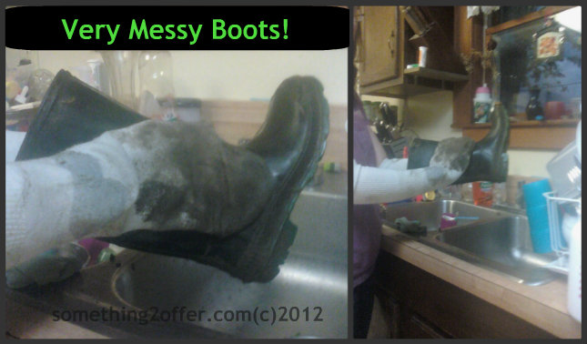 using old socks to clean very messy boots