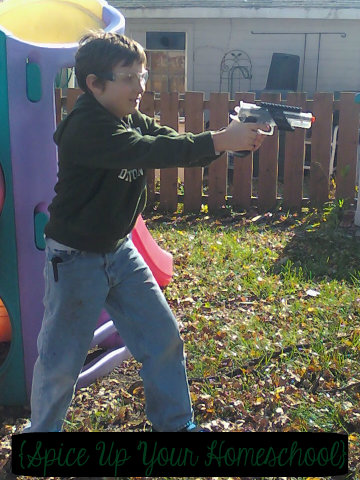 Eldest with Pellet Gun {Spcie Up Your Homeschool}