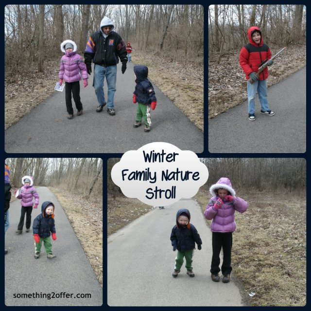 winter family nature stroll Collage