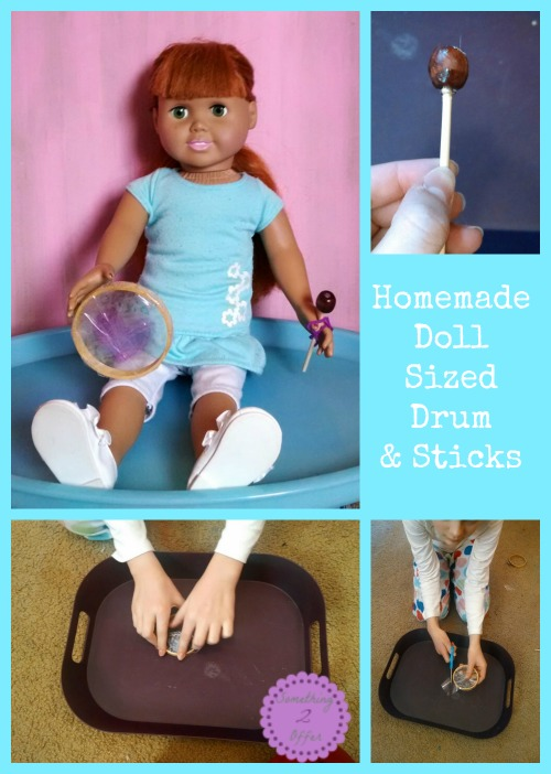 AG Doll sized drum and drumsticks