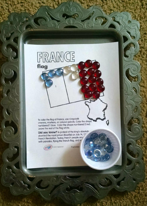 France Flag colored stone activity