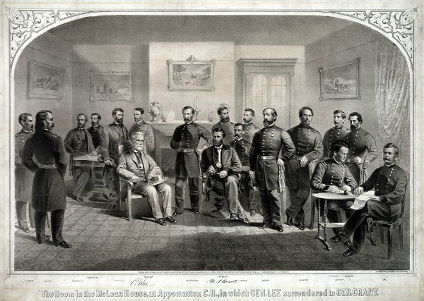 Lee surrenders to Grant at Appomatox