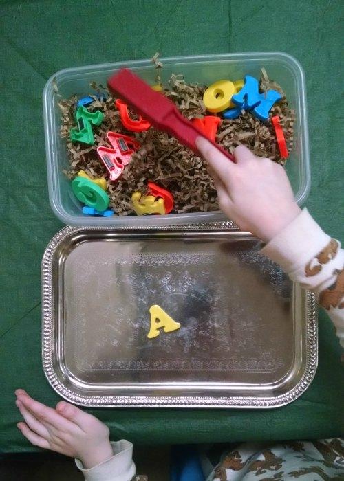 Magnetic Letters Spelling Sensory Bin