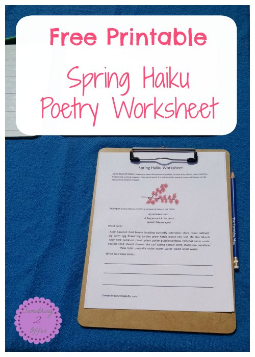 Spring Haiku Poetry Worksheet