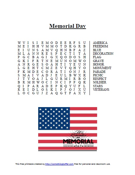 Memorial Day word search image