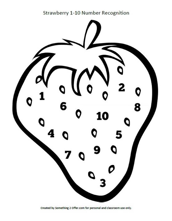 Strawberry Number Recognition Free Printable