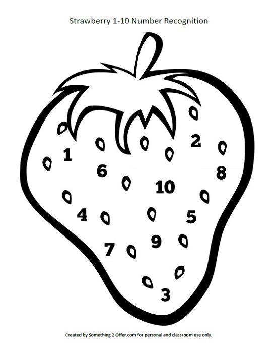 Strawberry 1-10 printable