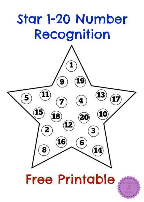 Star 1 20 Number Recognition Free Printable