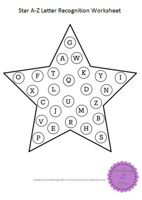Star A-Z Letter Recognition Worksheet