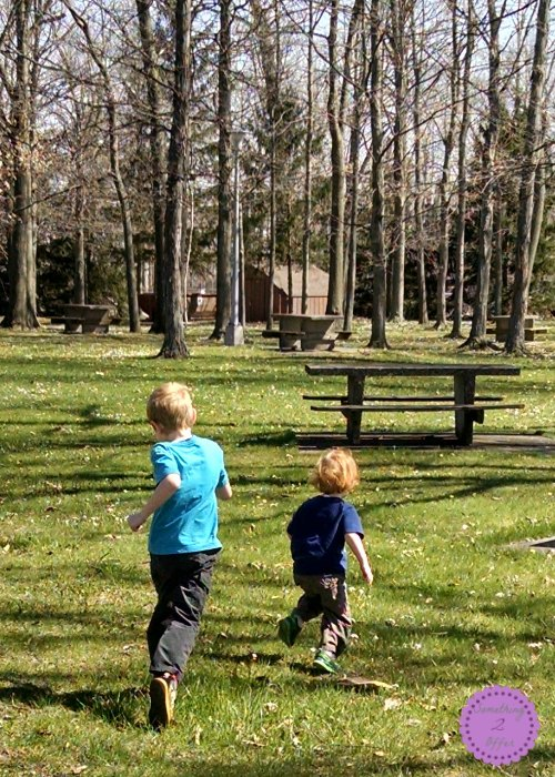running in grass at rest area