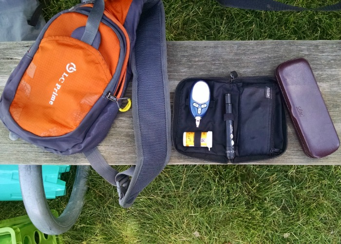 Type 1 Diabetes supplies on park bench