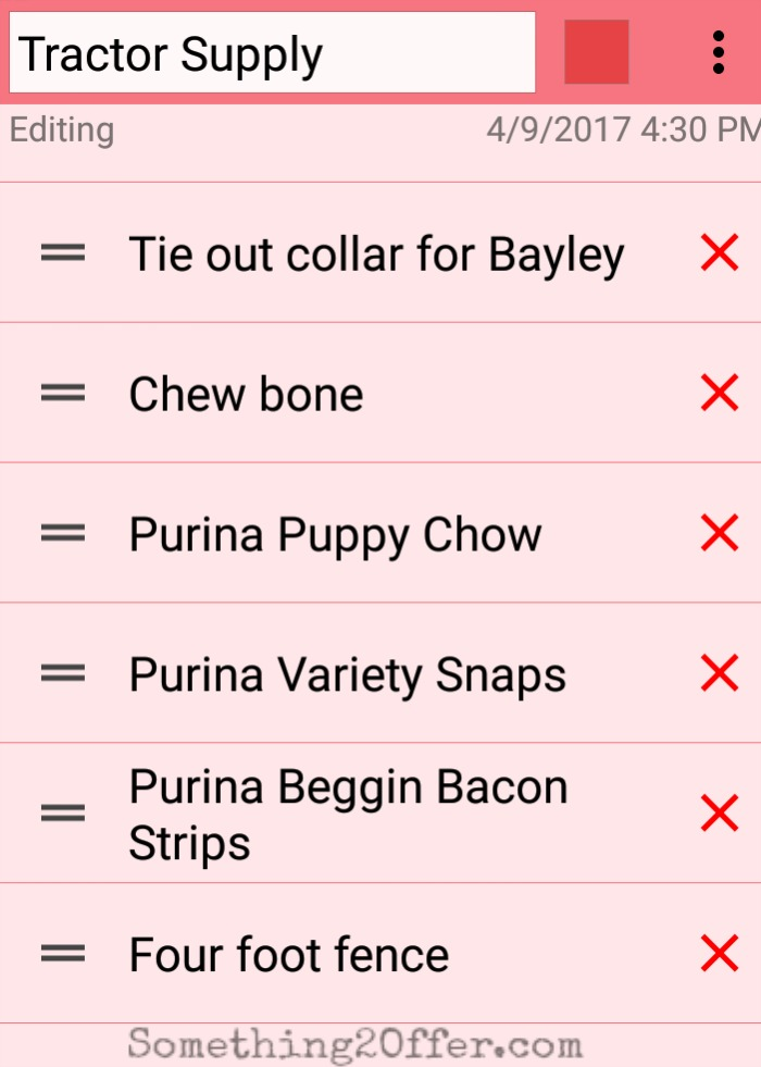 Tractor Supply Shopping List