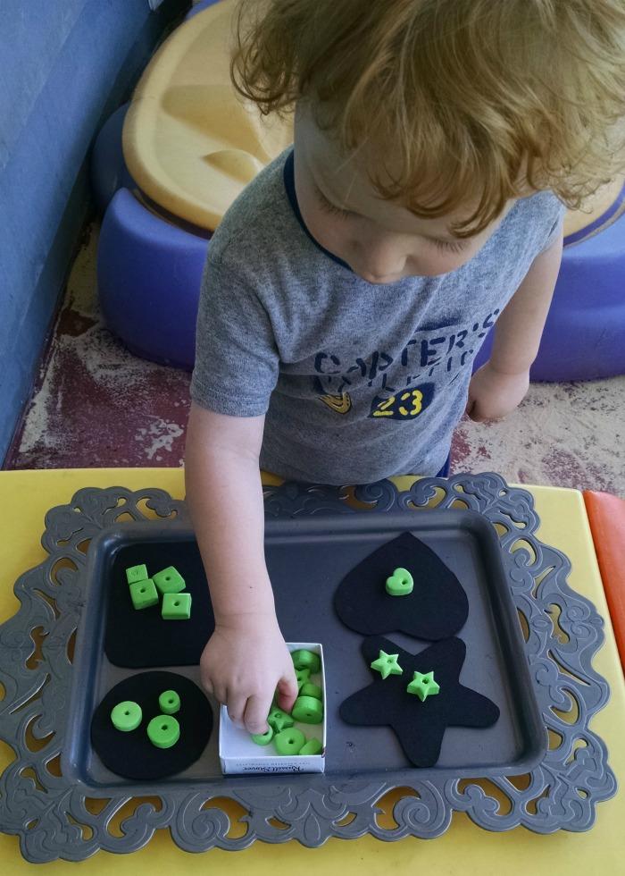 Simple Foam Shape Bead Sorting activity tray